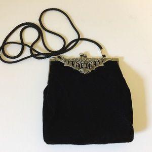 Black Velour Velvet Clutch Bag